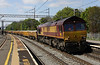 3 May 2014. 66004 speeds through Wolverton with the 6A11 1240 Bescot Engineers Sidings - Bourne End Junction.