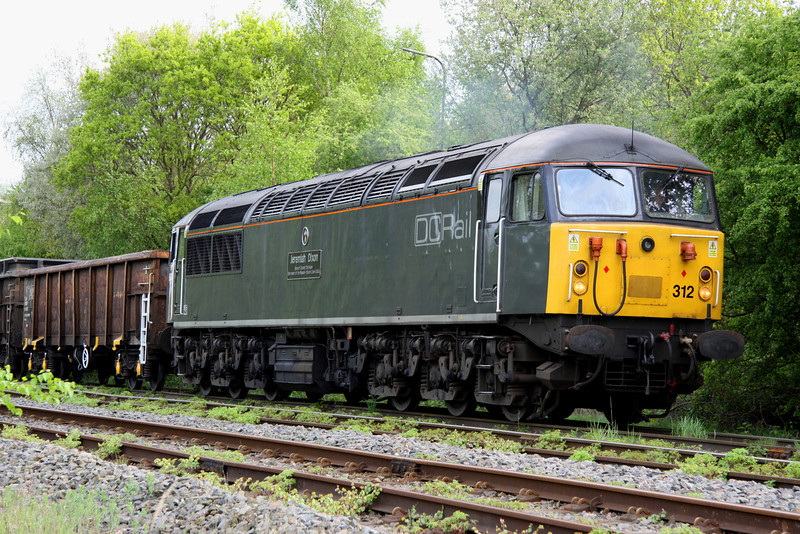 2 May 2014. A close up view of grid 56312 Jeremiah Dixon Son of County Durham Surveyor of the Mason-Dixon Line U.S.A. during the unloading process at Calvert whilst working the 6Z34 1219 Willesden - Calvert.