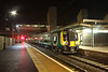 19 November 2014. The highest numbered LM Desiro, 350377 stands at the end of her working day at Bletchley with the 2B27 2105 Euston - Bletchley.