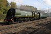 3 October 2014. Green is the colour although the trees are turning an Autumnal brown as 34067 TANGMERE with mark 2A support coach 35518 in tow pass Bradwell with the 5Z67 1206 Southall - Carnforth move.