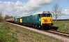 11 April 2015. Hoover double vision as 50008 Thunderer + 50015 Valiant saunter past Castor with the 1E48 1202 Wansford - Peterborough.