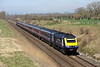 6 April 2015. With Easter engineering taking place at Reading, FGW HST services were being diverted into either London Waterloo or into Paddington via the Chilterns. Seen at Fritwell just north of Bicester, 43175 GWR 125TH ANNIVERSARY leads the 1L42 0827 Swansea - Paddington having reversed at Banbury. Sister 43098 was trailing on the rear.