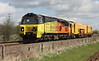11 April 2015. The main purpose of the visit to Uffington was to capture Colas 70806 seen here with track machine 73117 in tow working the 6Z12 1115 Norwich Thorpe - Rugby DED.