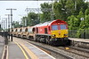 20 June 2015 Only seven DB 66's carry the DB red livery and one of those namely 66114 heads the 6R01 1535 Crewe Basford Hall - Harlesden engineers through Wolverton.