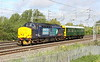 9 May 2015. The 5Z02 0805 Willesden Brent - Derby RTC scuttles past Bradwell with 37402 Stephen Middlemore 23.12.1954 - 8.6.2013 pushing inspection saloon 975025 CAROLINE.