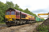 22 May 2015. A hint of sun as DB stickered 66017 shunts the Cricklewood bins at Calvert. 66017 along with 66001 and 66019 are tripcock fitted to allow them to work on LUL metals between Harrow on the Hill and Amersham.