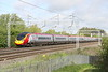 9 May 2015. Angel Wings branded 390002 Virgin Angel heads away from camera at Bradwell with the 9S54 0843 Euston - Edinburgh.
