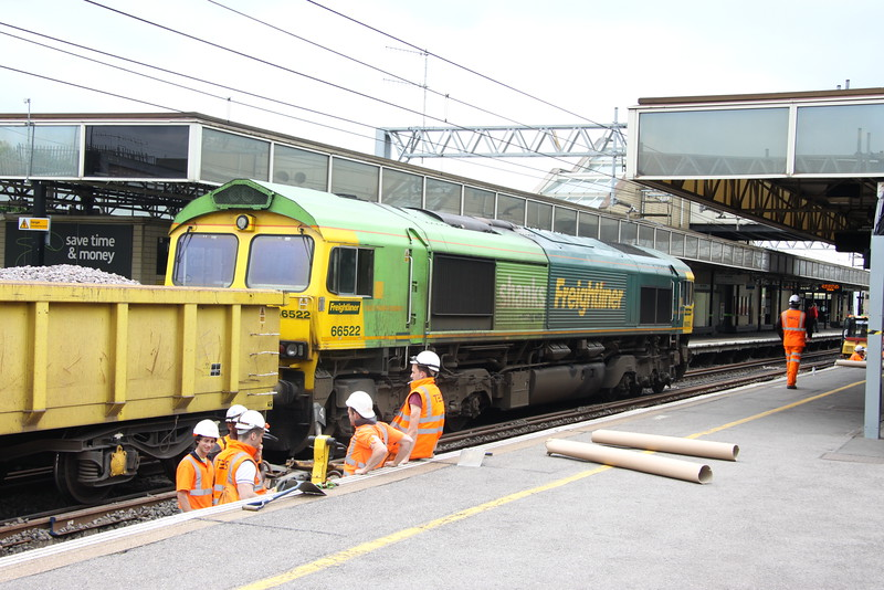 24 May 2015. Significant engineering took place in an around MK over the Bank Holiday weekend. The track, sleepers and ballast were all replaced on the up fast at MK and work was also carried out at Hanslope Junction and Weedon. Freightliner were entrusted with the MK works and locos 66513/522/525/530/552/557/560/953 and 70004 were used. Here celebrity 66522 is seen at MK with a trainload of fresh ballast which had worked in as the 6Y63 Crewe - Denbigh.