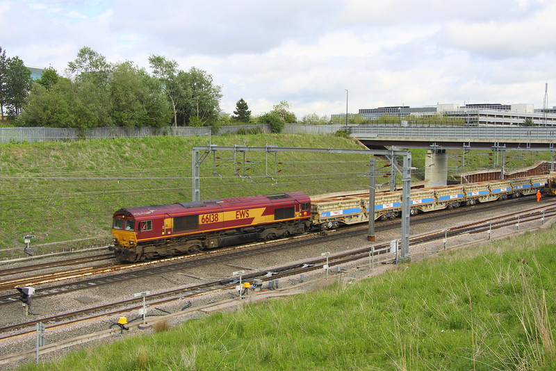 24 May 2015. DB operated the trains involved in the works at Hanslope Junction and Weedon. 66138 is seen just north of MK working the 6R08 1319 Hanslope Junction - Crewe via a reversal at Bletchley running just shy of two hours late. Other DB 66's in use included 66057/058/089/174 and 199. Pioneer 66001 was in use at Weedon.