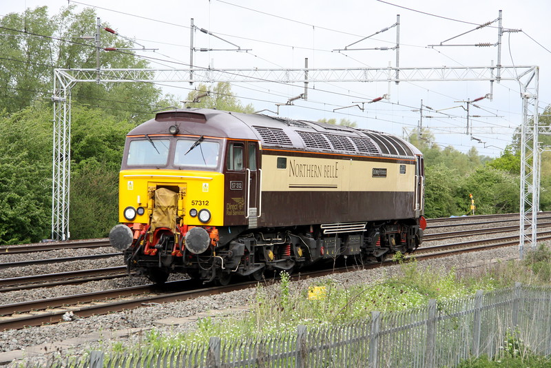 9 May 2015. No luxury work for Northern Belle dedicated loco 57312 Solway Princess today as she heads light past Bradwell on the 0Z57 0722 Crewe Gresty Bridge - Ramsgate EMU Depot. On arrival in the Isle of Thanet she coupled up to 375306 and duly took the SE unit to Derby via the Midland Main Line.