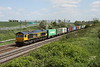 16 May 2015. GBRf 66743 takes the 4M23 1034 Felixstowe - Hams Hall past Castlethorpe. This loco was formerly working for DRS as 66407 and for Colas as 66842.