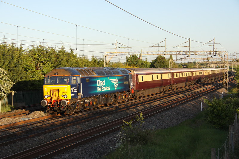 20 May 2015. Flower power as 57310 Pride of  Cumbria leads the 1Z46 1833 London Victoria - Chester Northern Belle past Stoke Hammond which was run in connection with the Chelsea Flower Show. The same train had run the previous day but originated in Manchester.