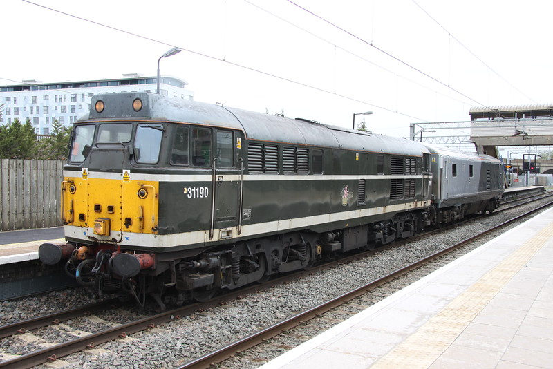 8 May 2015.  Introduced to traffic 55 years to the month, veteran 31190 awaits time at Bletchley with Chiltern DVT 82309 in tow working the 5Z31 1235 Wembley LMD - Loughborough Brush.