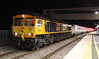 14 May 2015. 66751 Inspiration Delivered Hitachi Rail Europe stands at Peterborough with the first Intercity Express Programme (IEP) unit 800001 for overnight testing on the ECML. 66751 has been fitted with additional couplings to haul the IEP unit as can been seen here. She had just arrived with 800001 as the 5E98 2207 Old Dalby - Tallington Junction.