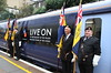 7 November 2015. Members of the Royal British Legion stand aside of the new nameplate on 395015 LIVE ON before departure of the Operation Javelin railtour.