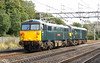 11 September 2015. WCML stalwart 87002 Royal Sovereign has 92038 for company as the pair head north past Bradwell working as 0Z86 1434 Willesden - Crewe Basford Hall. 92038 is the ony Caledonian sleeper liveried 92 to still retain her Channel tunnel polo mint cast logos and her Crewe Electric roundel depot plaque.
