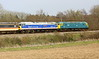2 April 2016. Colourful combo as 47367 KENNY COCKBIRD double heads with 47596 Aldeburgh Festival as the pair head past Thuxton with the 1640 Dereham - Wymondham.
