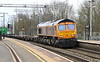 1 April 2016. April Fools Day sees 66750 Bristol Panel Signal Box curve through Wolverton heading the 4L18 1418 Trafford Park -Felixstowe.This 66 was originally built for use on mainland Europe in 2003 but was acquired in last year by GBRf.