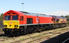 5 August 2017. A sparkling 66130 in DB red stands alongside 66078 at Didcot.