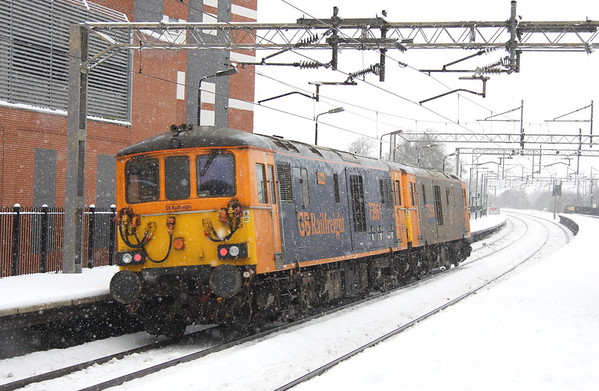10 December 2017. The going away view of 73963 + 73961 heading for Derby.