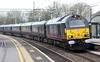 24 February 2017. Silver buffered 67005 Queen's Messenger draws to a stop at Wolverton hauling the Royal Train which had been in use in South Wales earlier in the day conveying Prince Charles to an official visit to Cwmbran. On arrival in Wolverton Centre Sidings 08629 Wolverton was used to haul the Royal ECS into the works.