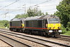 9 June 2017. With the Royal Train safely back to base, 67005 Queen's Messenger and 67006 Royal Sovereign are seen running light past Wolverton heading for Bescot.