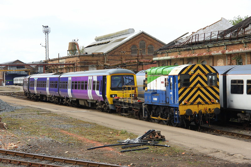 1 May 2017. The first day of the month sees 08629 Wolverton propelling 323230 into Wolverton Works. The 323 had travelled south from Manchester as the 0846 Longsight Depot- Wolverton Centre Sidings.