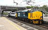 5 May 2017. A trio of red nameplates as 37424 (558) Avro Vulcan XH558 complete with DRS LONDON ON A MISSION headboard passes Wolverton with 90014 Norfolk and Norwich Festival + 90001 Crown Point in tow working as the 0830 Norwich Crown Point T&RSMD - Crewe Electric Depot.
