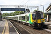 12 May 2017. 350376 + 350118 stand at Wolverton with the 1Y58 1514 Birmingham New Street - Euston. All is not how it seems though. The service approached Wolverton too fast and following hard braking, overshot the platform by the first two vehicles. After a few minutes the service then reversed into the station to allow passengers to alight and board the service.