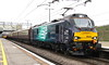 9 May 2017. Enter class 88. Built in Spain by Vossloh/Stadler, 88002 Prometheus stands at MK with the 'Class 88 VIP Launch Train', the 1Z88 0932 Euston - Carlisle. 68022 Resolution was on the rear.