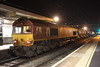 17 November 66092 comes to a stand at Bletchley tnt with 66066 Geoff Spencer working the RHTT 3J01 1520 Bescot TMD - Euston.