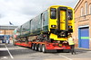 6 October 2017. 150243 was released from Wolverton Works in full GWR livery. Vehicle 57243 is seen on Allelys low loader awaiting reversal onto Stratford Road in Wolverton before heading back west.