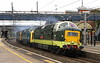 9 October 2017. Deltic triple vision as D9002 KING'S OWN YORKSHIRE LIGHT INFANTRY + 55019 ROYAL HIGHLAND FUSILIER + D9009 ALYCIDON pass a gloomy Wolverton working the 0Z55 0500 East Grinstead Sidings - York NRM. The trio had been involved in the Deltic 40th celebrations at the Bluebell Railway