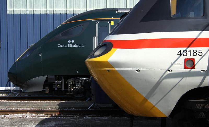 2 September 2017. Great Western present and future. 43185 Great Western alongside IET 800003 Queen Elizabeth II.