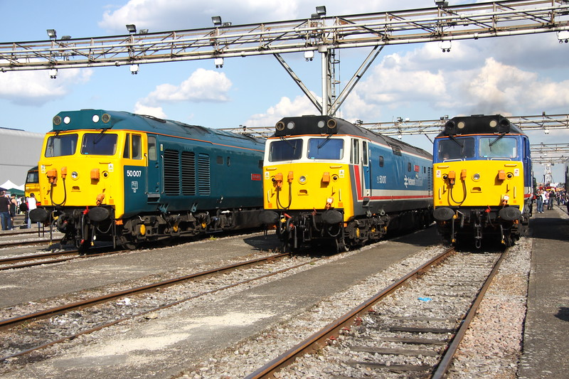 2 September 2017. With the sun having moved round through the afternoon it was time to catch 50007 Hercules, 50017 Royal Oak and 50026 Indomitable.