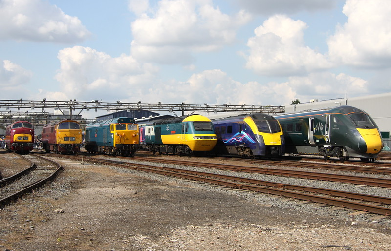 2 September 2017. D821, D1015 WESTERN CHAMPION, 50035 Ark Royal, 43002 Sir Kenneth Grange, 180102 and 800003 Queen Victoria.
