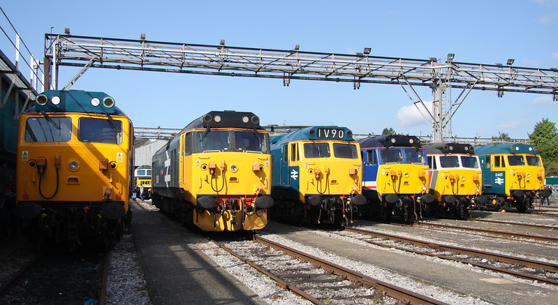 2 September 2017. Of the seven class 50's attending the open day, six were in one staggered line up. Left to right, D400 50050 Fearless, 50049 Defiance, 50044 Exeter, 50026 Indomitable, 50017 Royal Oak and 50007 Hercules.