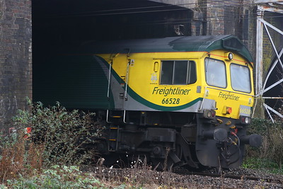 25 December 2018. 66528 Madge Elliot MBE Borders Railway Opening 2015 is seen shut down for the Christmas period at Wolverton having exited the MK works possession.