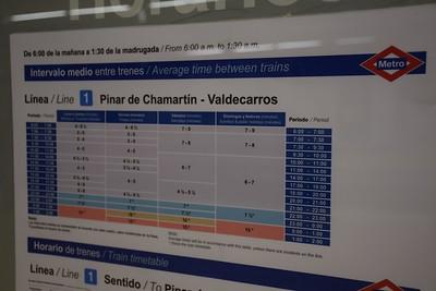 Pinar de Chamartin timetable 28 January 2019