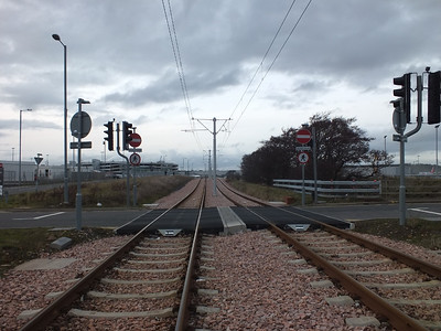 Tram track at Edinburgh Airport 24 February 2014