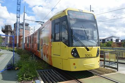 3063 departs Deansgate Castlefield 5 August 2017