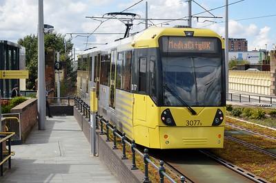 3077 departs Deansgate Castlefield 5 August 2017