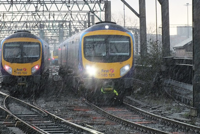 185 102 and 185 121 in the snow. Manchester Piccadilly 5 December 2011