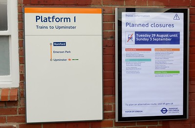 Overground map and notice at Romford 1 September 2017