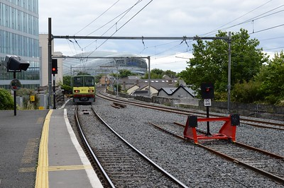 8633 departs Grand Canal Dock 30 July 2016 New track layout in place.