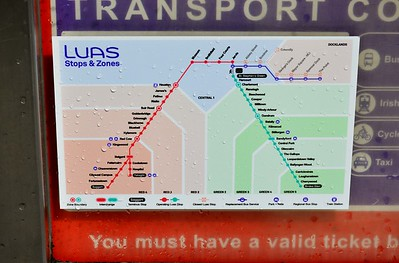 Luas map showing XC disruption Heuston 2 July 2016