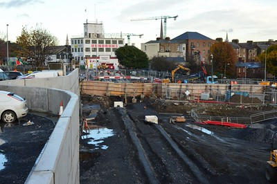 Luas XC Constitution Hill from new bridge 17 November 2016