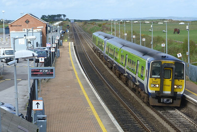 2802 on the 13:35 Drogheda to Dublin Pearse. Gormanston, Monday, 04/04/11