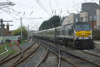 8208 leads the 13:20 Dublin Connolly to Belfast Central Enterprise through Howth Junction, Thursday, 07/04/11