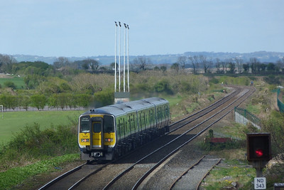 2818 departs Balbriggan with the 13:28 Dublin Pearse to Drogheda. Thursday, 07/04/11